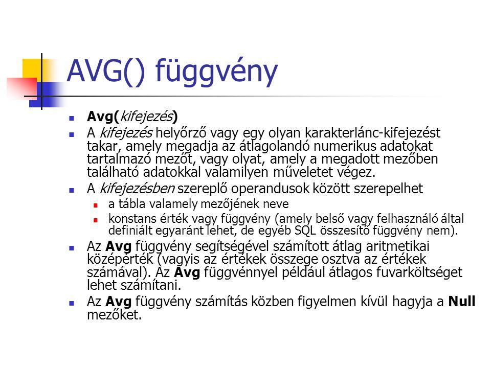 AVG() függvény Avg(kifejezés)