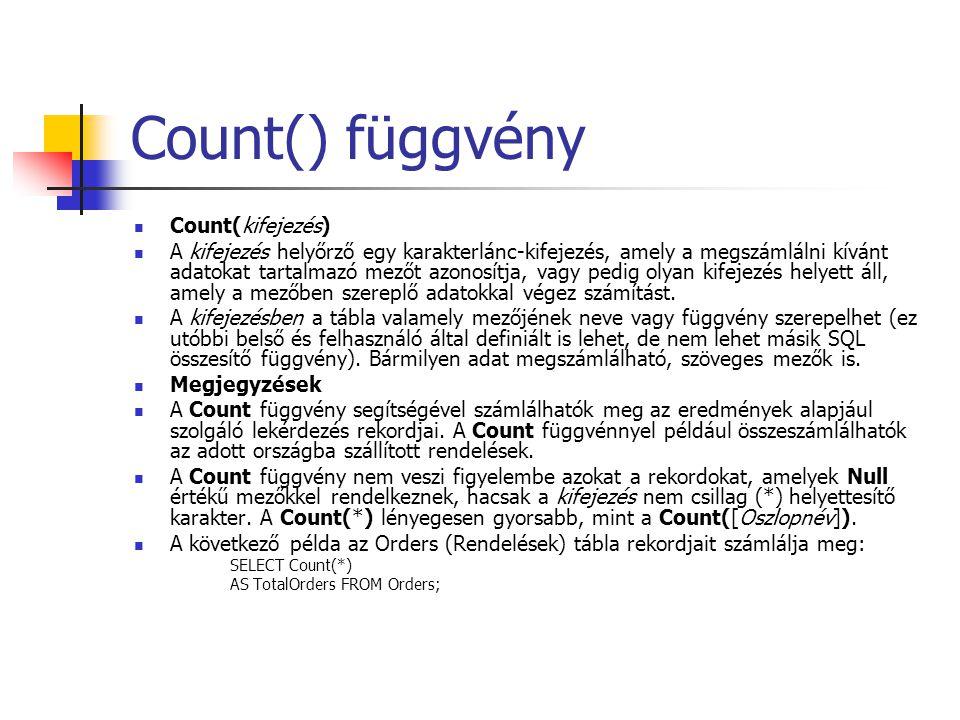 Count() függvény Count(kifejezés)