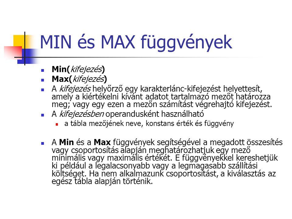 MIN és MAX függvények Min(kifejezés) Max(kifejezés)