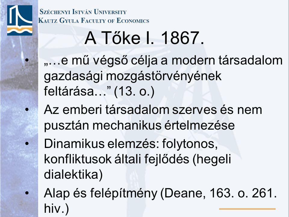 """A Tőke I. 1867. """"…e mű végső célja a modern társadalom gazdasági mozgástörvényének feltárása… (13. o.)"""