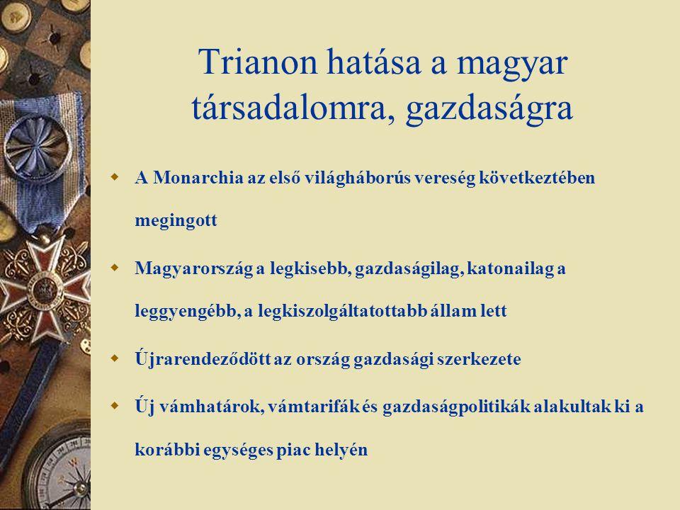 Trianon hatása a magyar társadalomra, gazdaságra