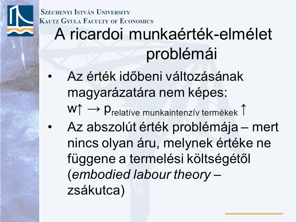 A ricardoi munkaérték-elmélet problémái
