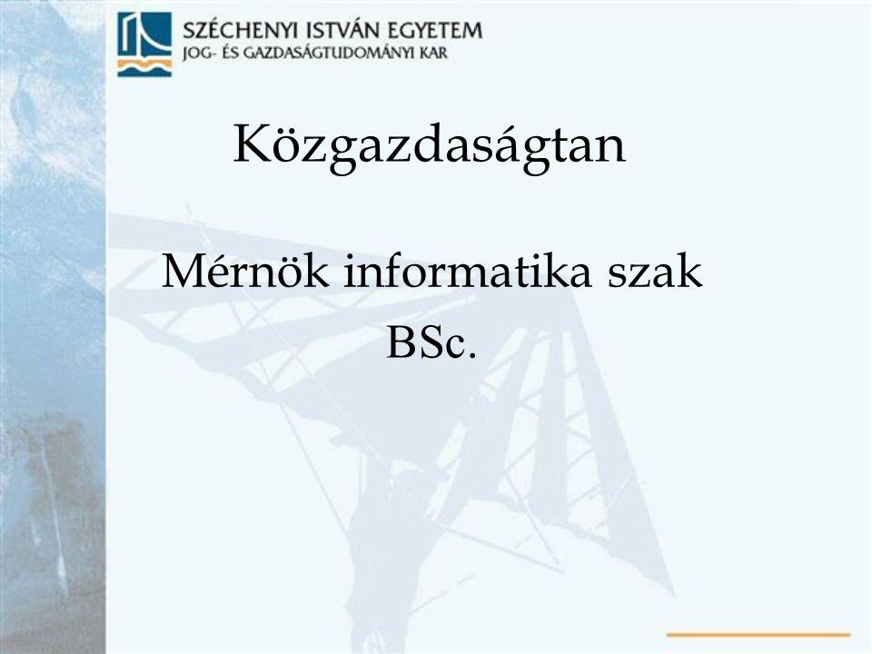 Mérnök informatika szak BSc.