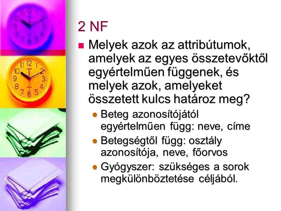 2 NF Melyek azok az attribútumok, amelyek az egyes összetevőktől egyértelműen függenek, és melyek azok, amelyeket összetett kulcs határoz meg