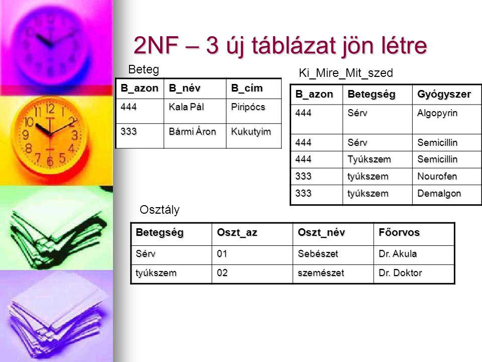 2NF – 3 új táblázat jön létre