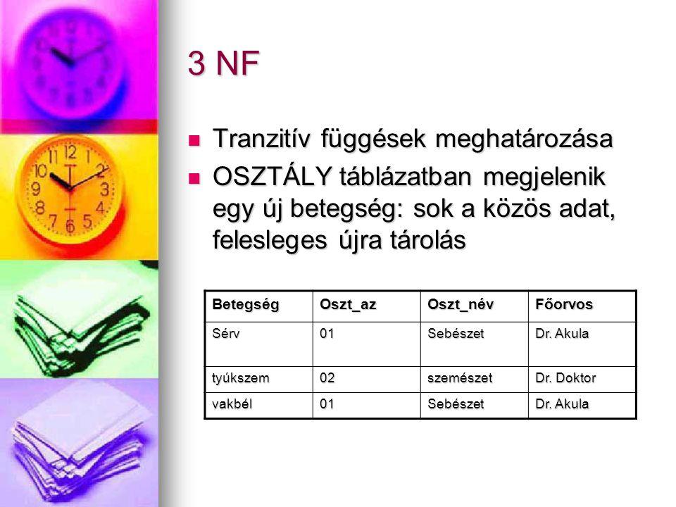 3 NF Tranzitív függések meghatározása