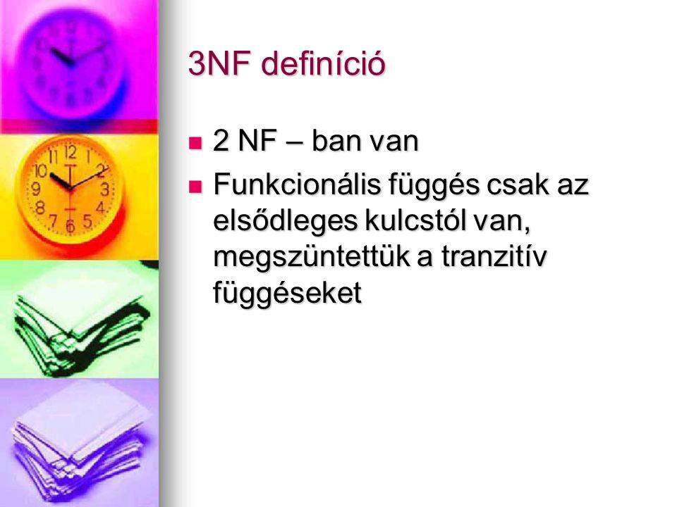 3NF definíció 2 NF – ban van
