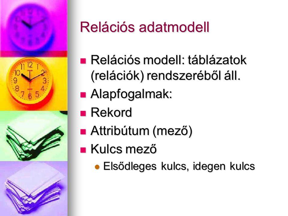 Relációs adatmodell Relációs modell: táblázatok (relációk) rendszeréből áll. Alapfogalmak: Rekord.