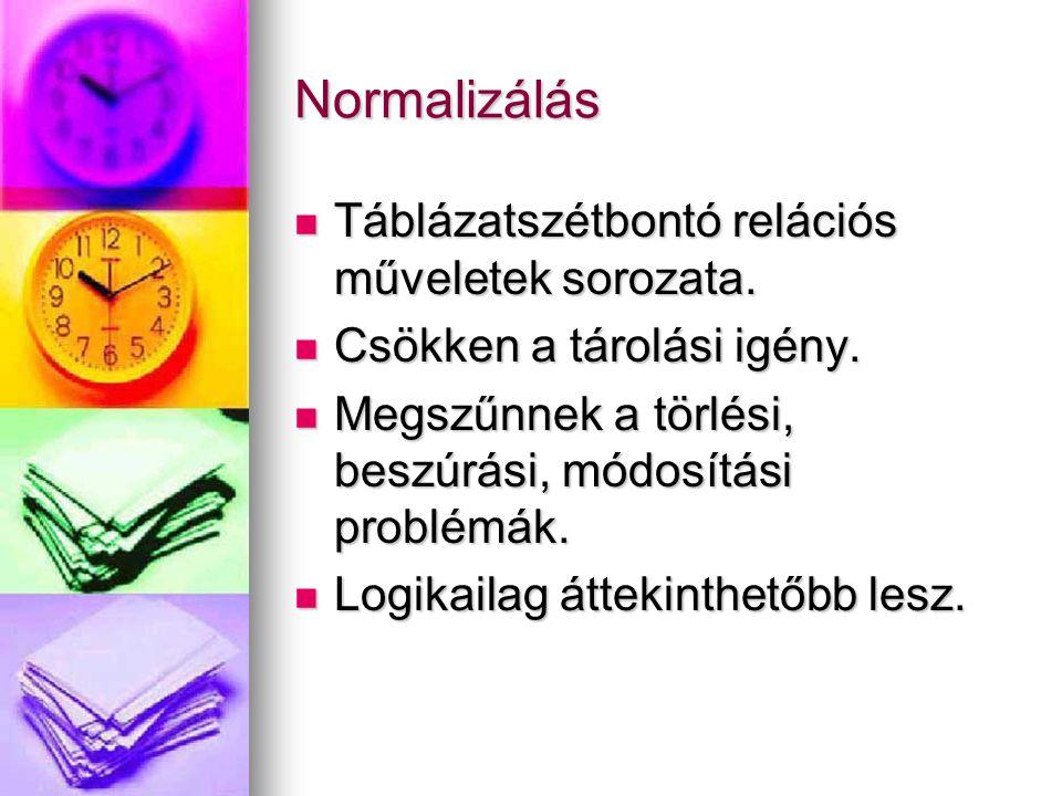 Normalizálás Táblázatszétbontó relációs műveletek sorozata.