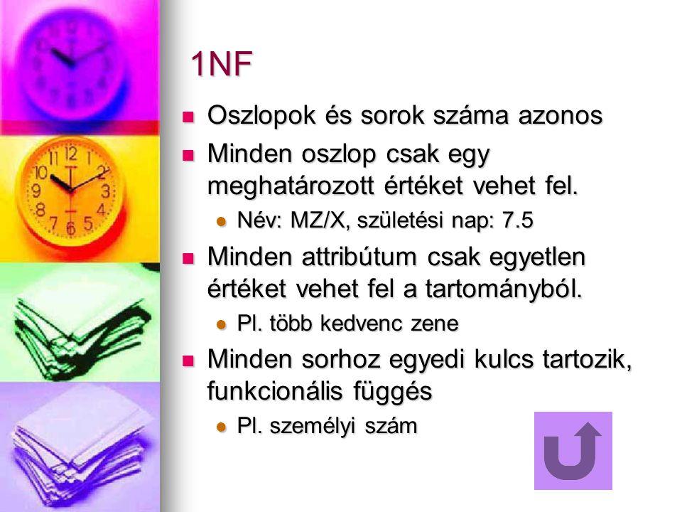 1NF Oszlopok és sorok száma azonos