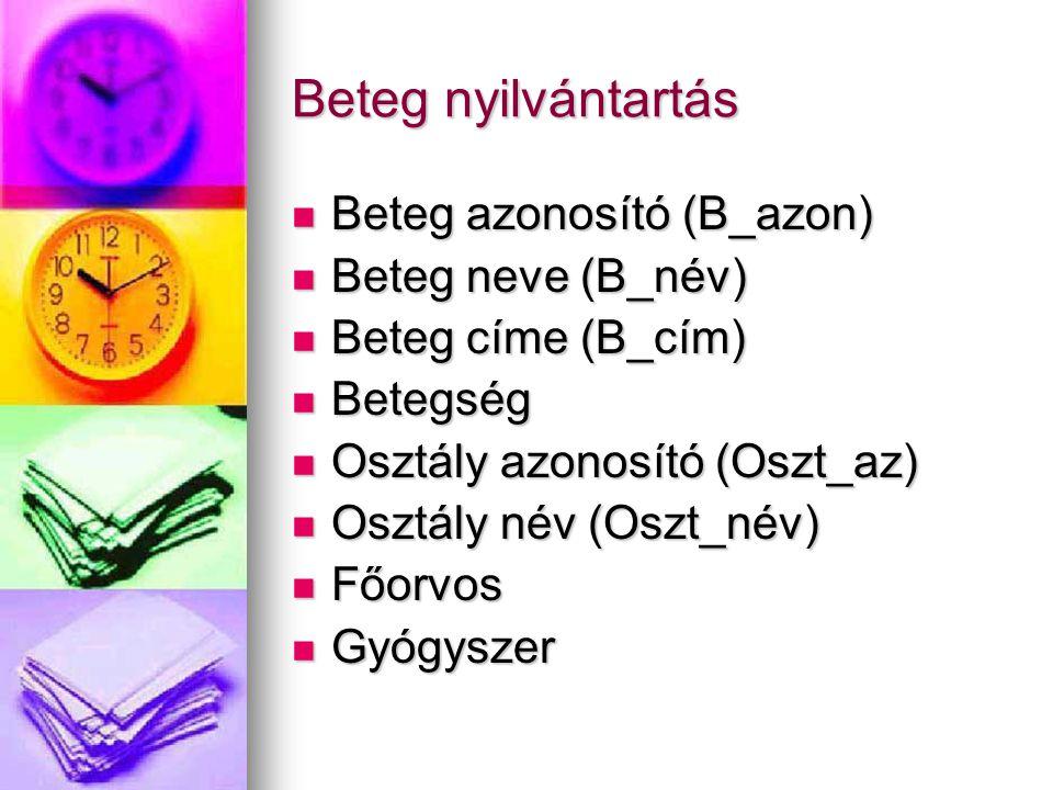 Beteg nyilvántartás Beteg azonosító (B_azon) Beteg neve (B_név)