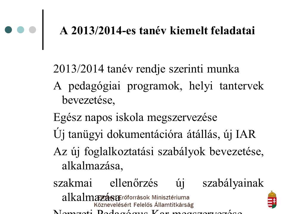 A 2013/2014-es tanév kiemelt feladatai