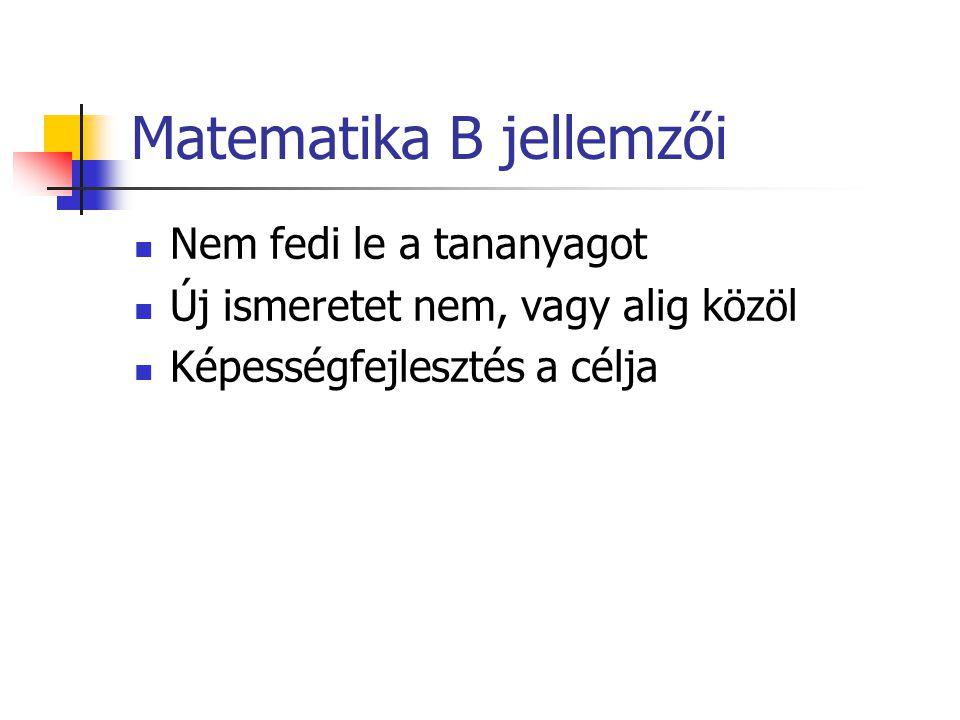 Matematika B jellemzői