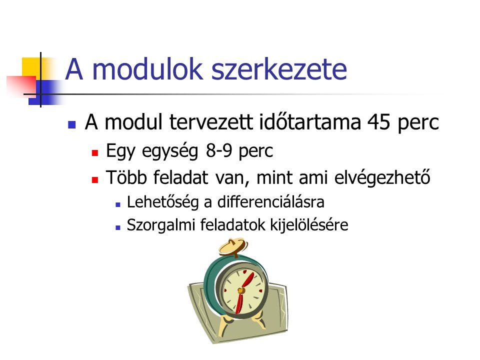 A modulok szerkezete A modul tervezett időtartama 45 perc