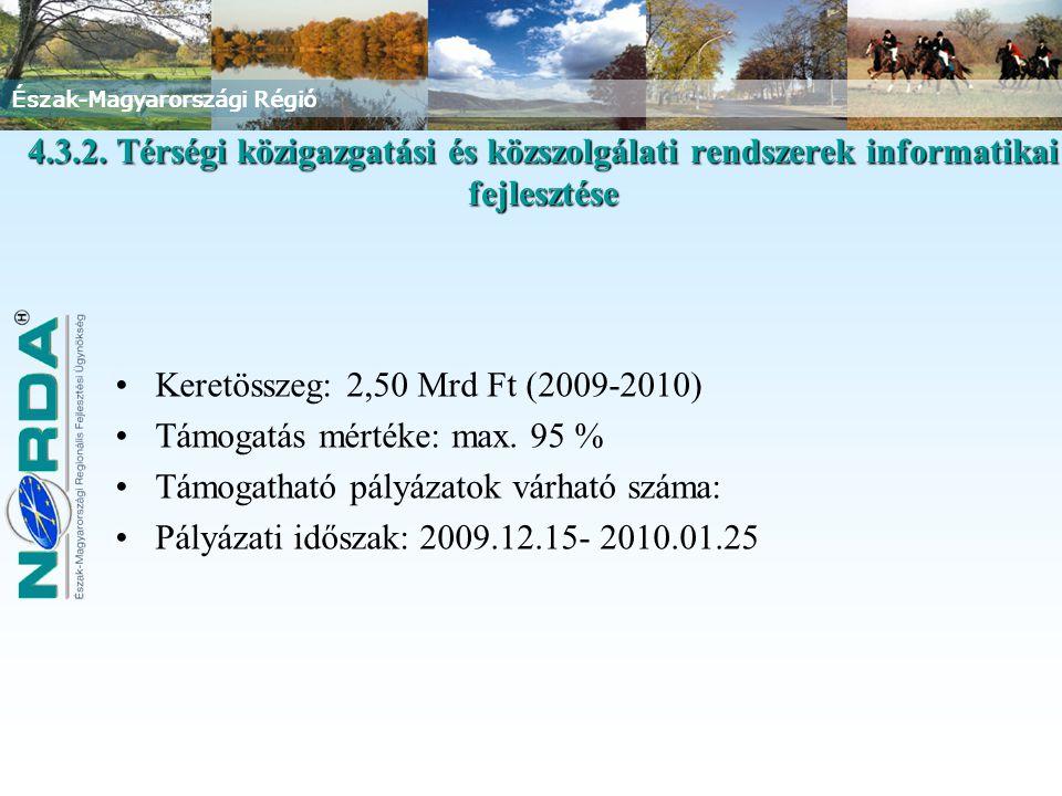 Keretösszeg: 2,50 Mrd Ft (2009-2010) Támogatás mértéke: max. 95 %