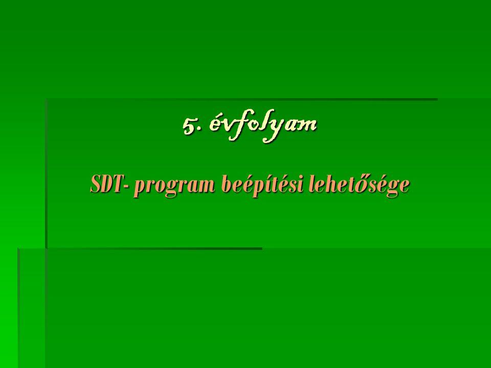 5. évfolyam SDT- program beépítési lehetősége