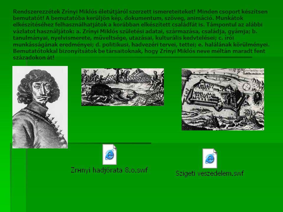 Rendszerezzétek Zrínyi Miklós életútjáról szerzett ismereteiteket