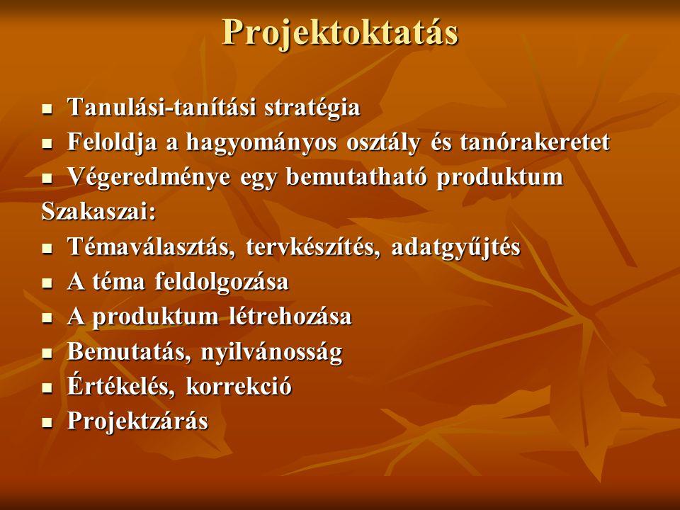 Projektoktatás Tanulási-tanítási stratégia