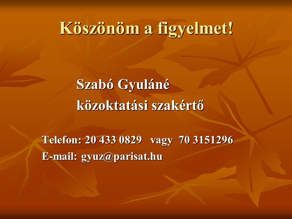 Köszönöm a figyelmet! közoktatási szakértő Szabó Gyuláné