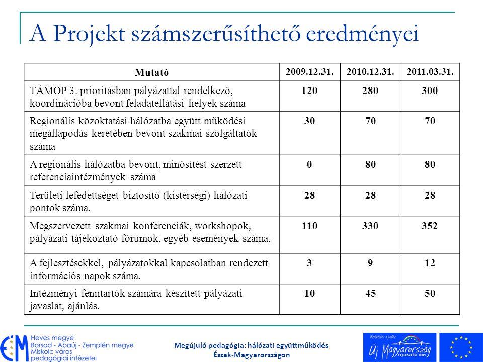 A Projekt számszerűsíthető eredményei