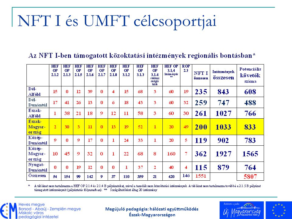 NFT I és UMFT célcsoportjai