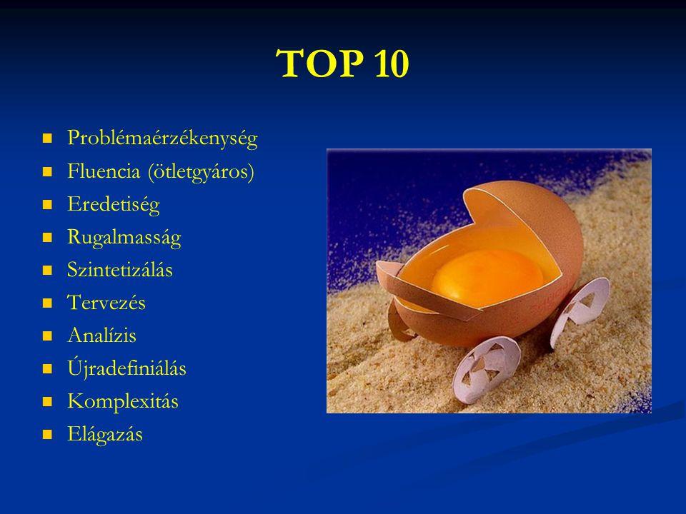 TOP 10 Problémaérzékenység Fluencia (ötletgyáros) Eredetiség