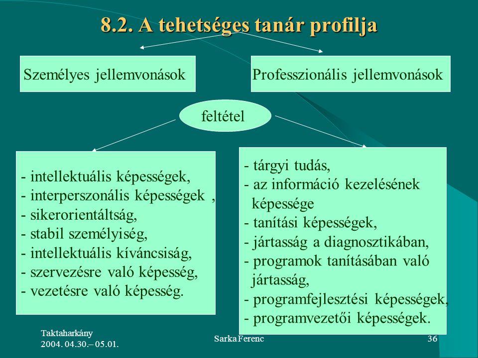 8.2. A tehetséges tanár profilja