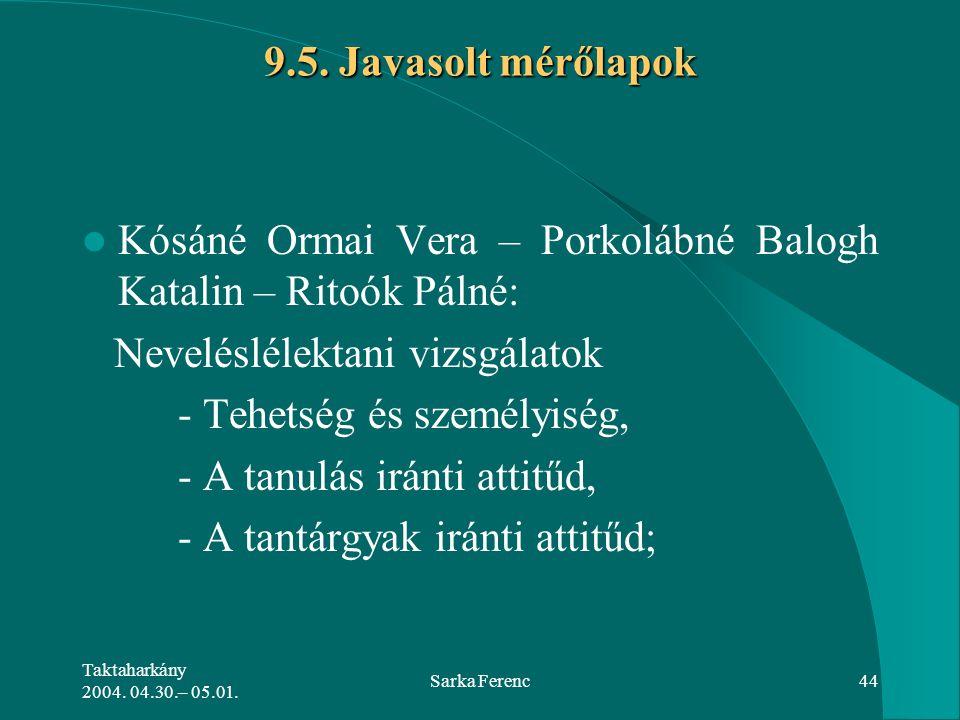 Kósáné Ormai Vera – Porkolábné Balogh Katalin – Ritoók Pálné: