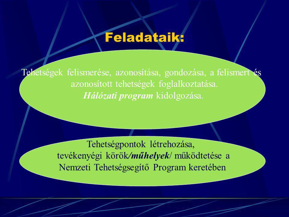 Feladataik: Tehetségek felismerése, azonosítása, gondozása, a felismert és. azonosított tehetségek foglalkoztatása.