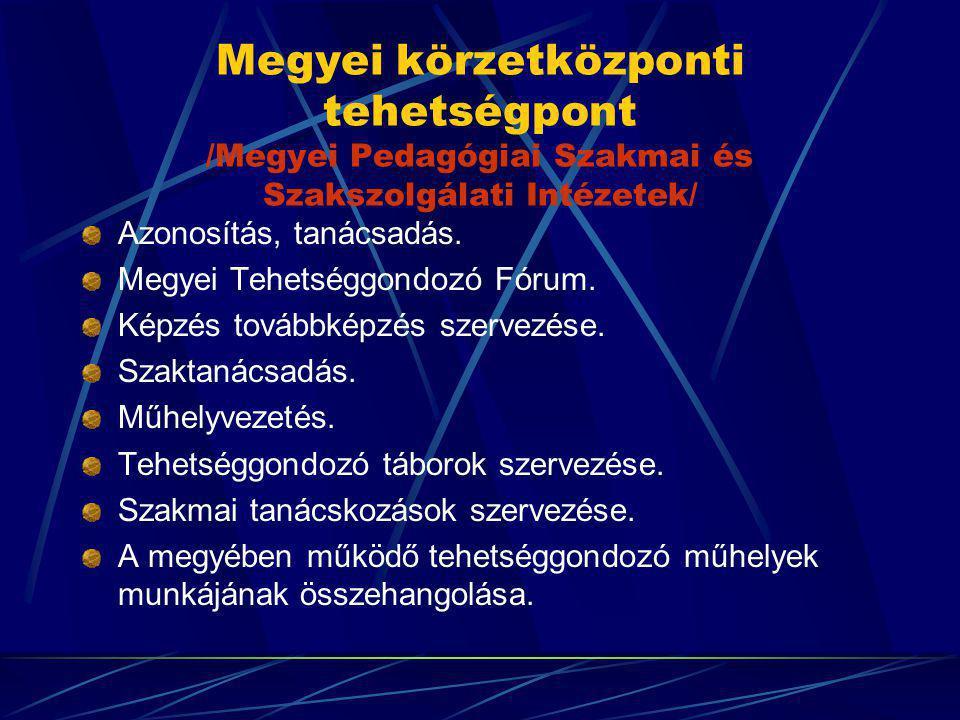 Megyei körzetközponti tehetségpont /Megyei Pedagógiai Szakmai és Szakszolgálati Intézetek/