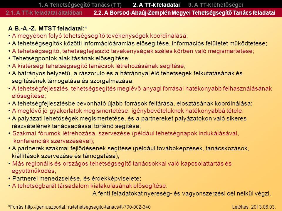 A B.-A.-Z. MTST feladatai:*