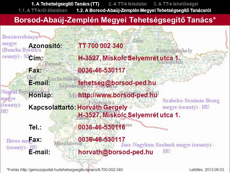 Borsod-Abaúj-Zemplén Megyei Tehetségsegítő Tanács*