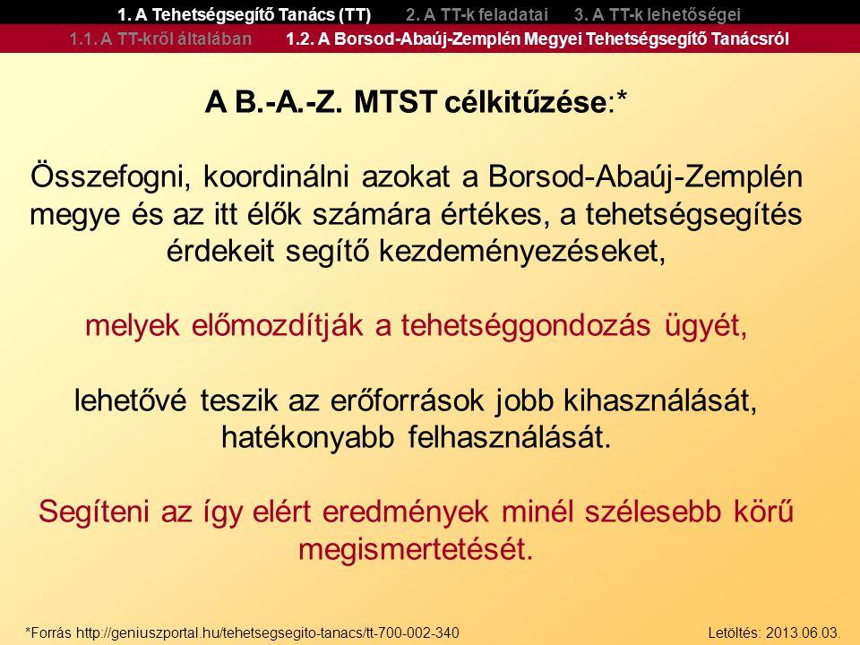 A B.-A.-Z. MTST célkitűzése:*