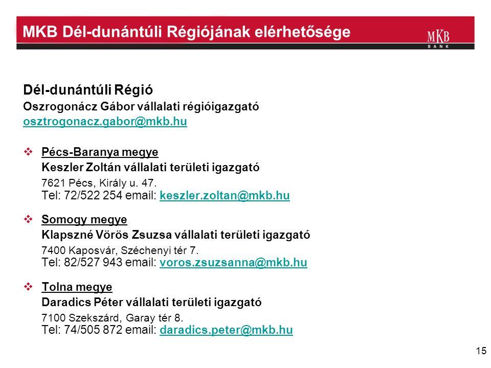 MKB Dél-dunántúli Régiójának elérhetősége