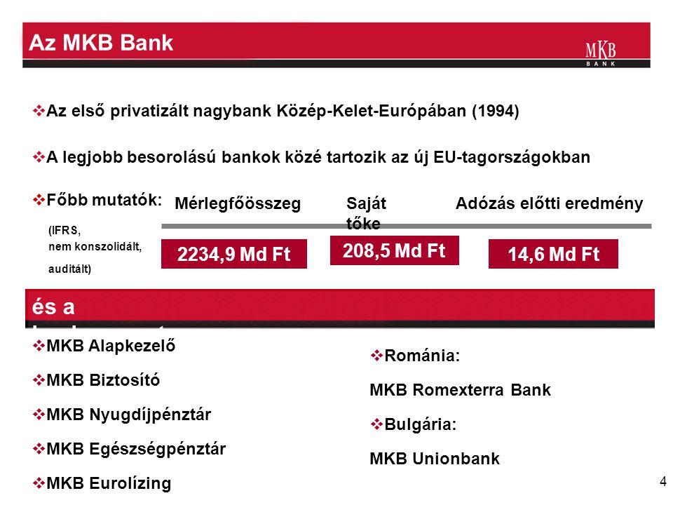 Az MKB Bank és a bankcsoport 2234,9 Md Ft 208,5 Md Ft 14,6 Md Ft