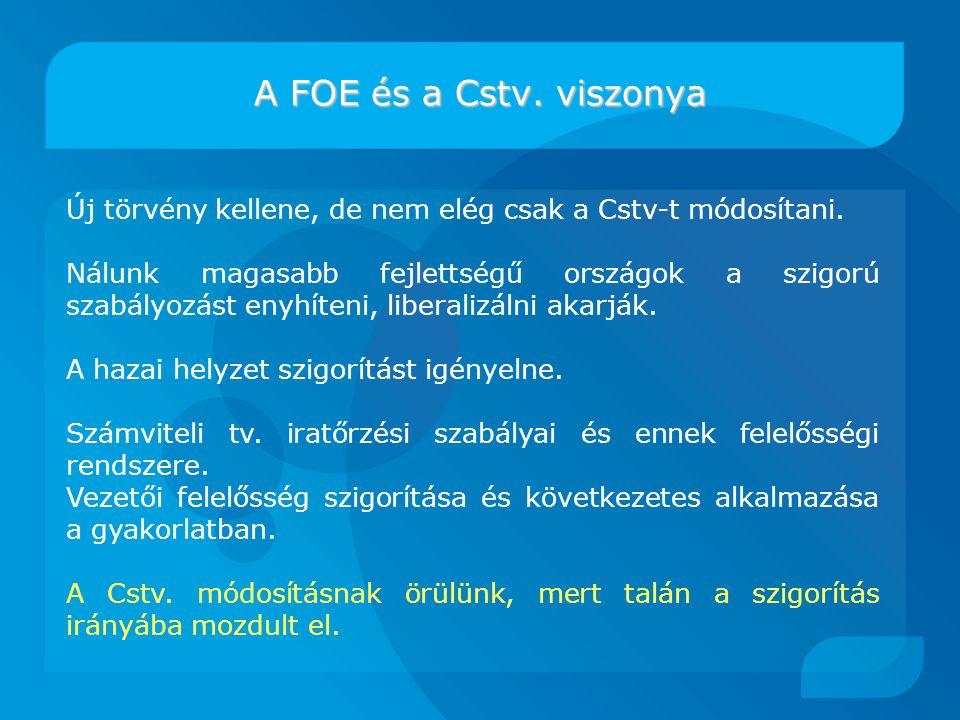 A FOE és a Cstv. viszonya Új törvény kellene, de nem elég csak a Cstv-t módosítani.