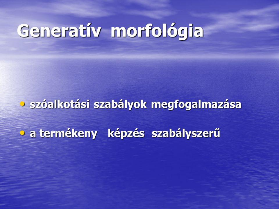 Generatív morfológia szóalkotási szabályok megfogalmazása