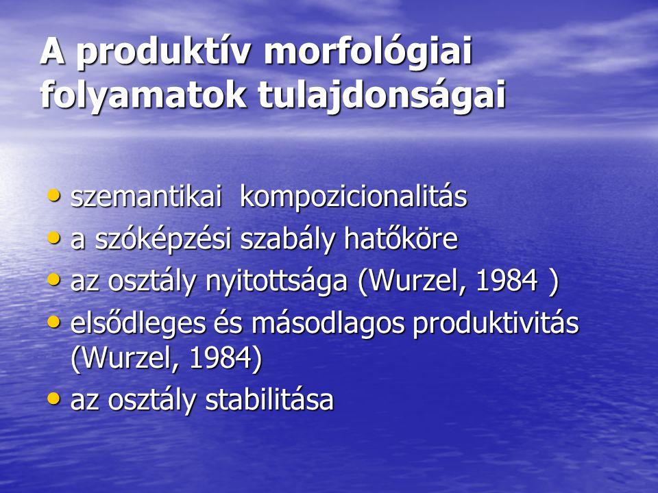 A produktív morfológiai folyamatok tulajdonságai