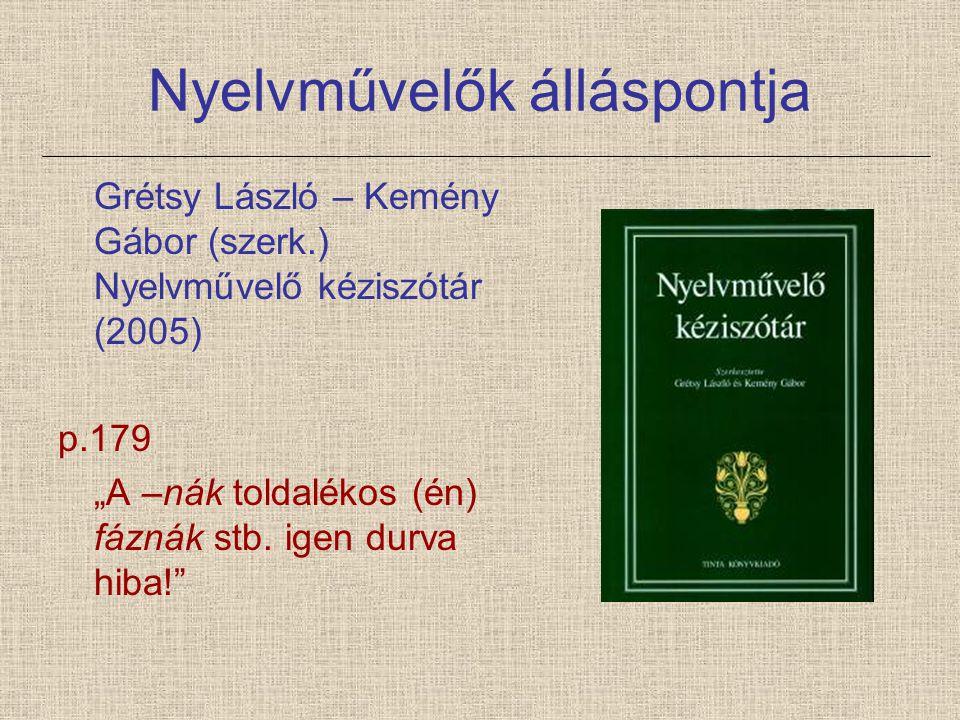 Nyelvművelők álláspontja