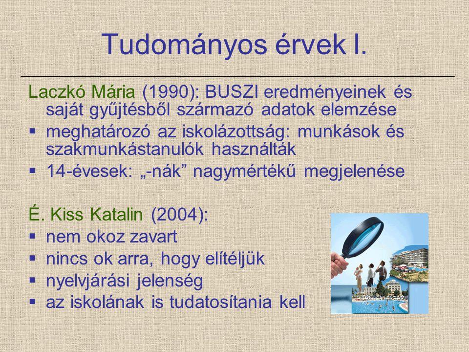 Tudományos érvek I. Laczkó Mária (1990): BUSZI eredményeinek és saját gyűjtésből származó adatok elemzése.