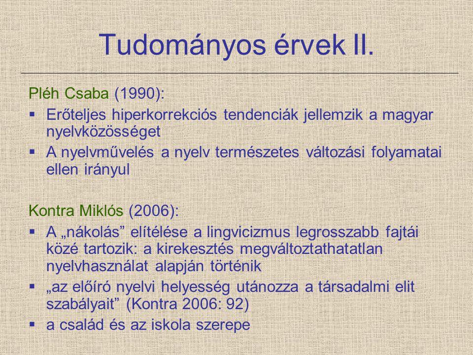 Tudományos érvek II. Pléh Csaba (1990):