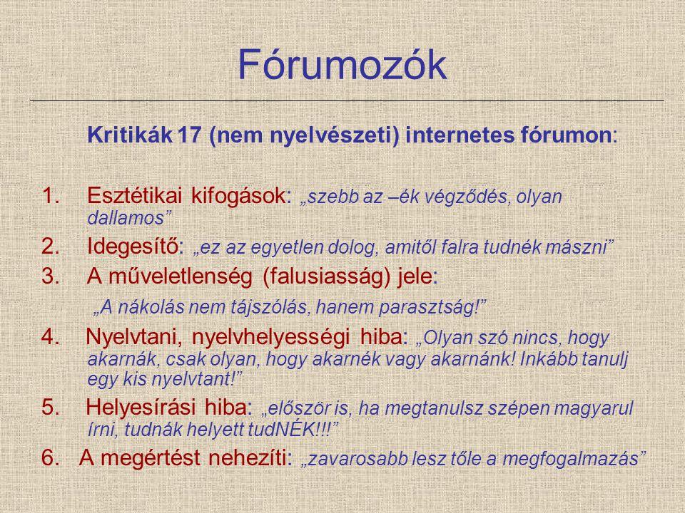 Fórumozók Kritikák 17 (nem nyelvészeti) internetes fórumon: