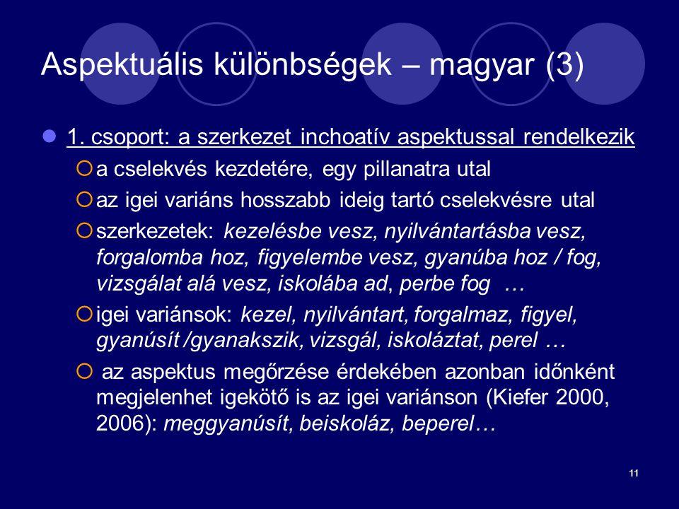 Aspektuális különbségek – magyar (3)