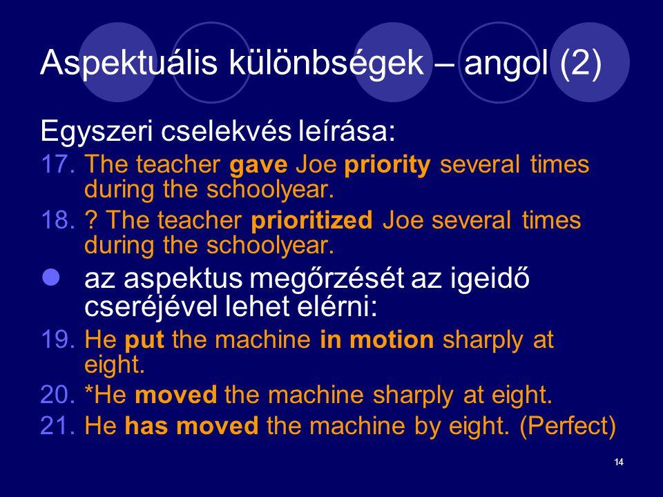 Aspektuális különbségek – angol (2)