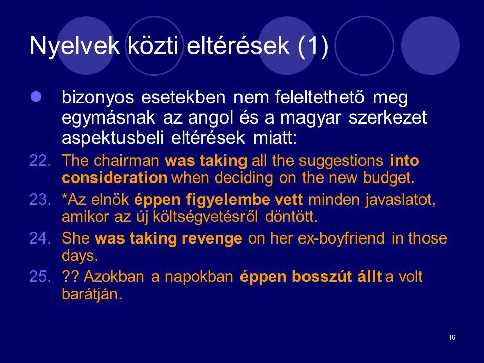 Nyelvek közti eltérések (1)