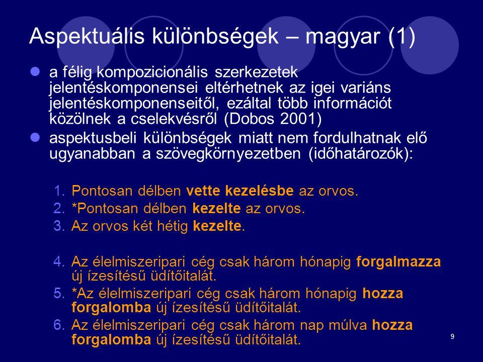 Aspektuális különbségek – magyar (1)