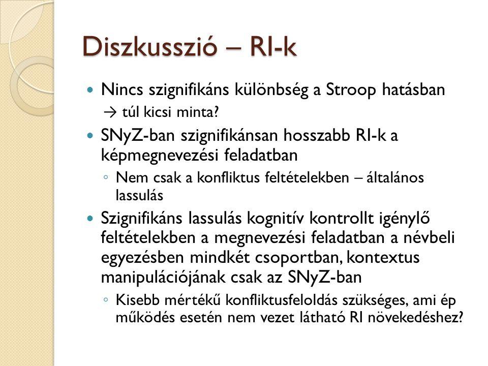 Diszkusszió – RI-k Nincs szignifikáns különbség a Stroop hatásban