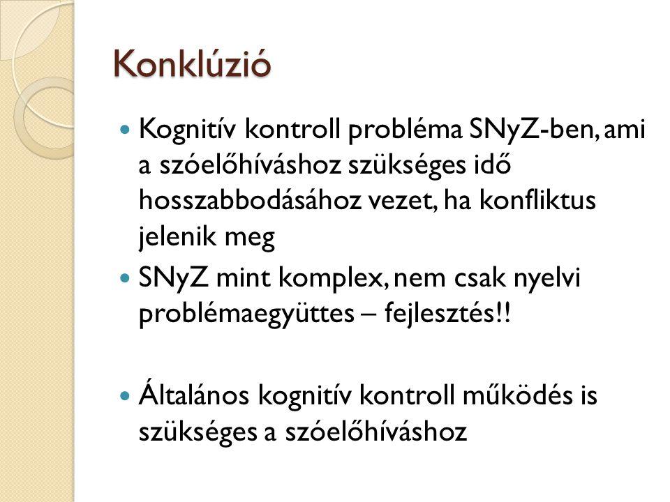 Konklúzió Kognitív kontroll probléma SNyZ-ben, ami a szóelőhíváshoz szükséges idő hosszabbodásához vezet, ha konfliktus jelenik meg.