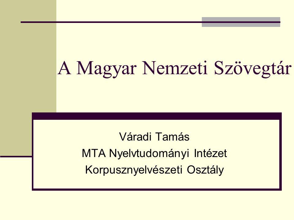 A Magyar Nemzeti Szövegtár