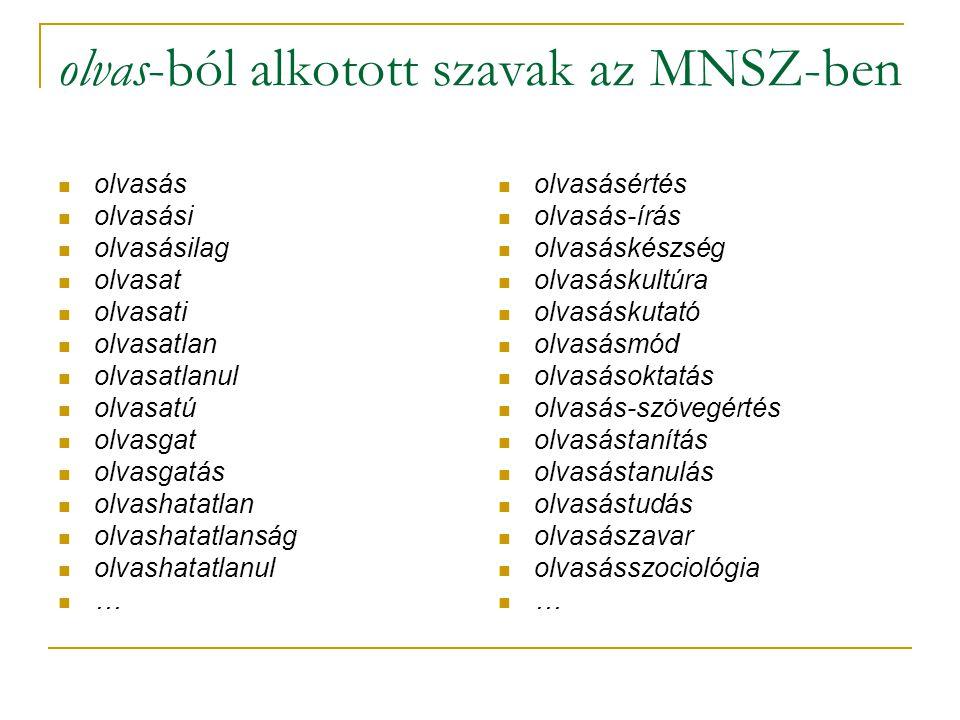 olvas-ból alkotott szavak az MNSZ-ben